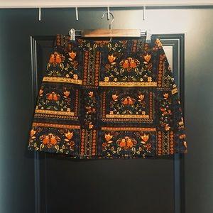 Floral Boho Print Skirt